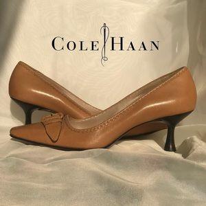 Cole Haan Tan Leather Buckle ZigZag Kitten Heels